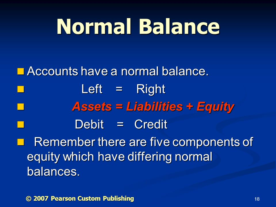 Normal Balance Accounts have a normal balance. Left = Right