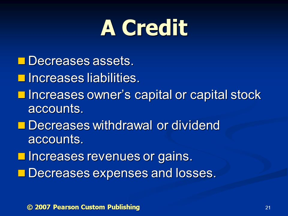 A Credit Decreases assets. Increases liabilities.