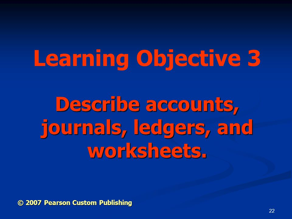 Describe accounts, journals, ledgers, and worksheets.