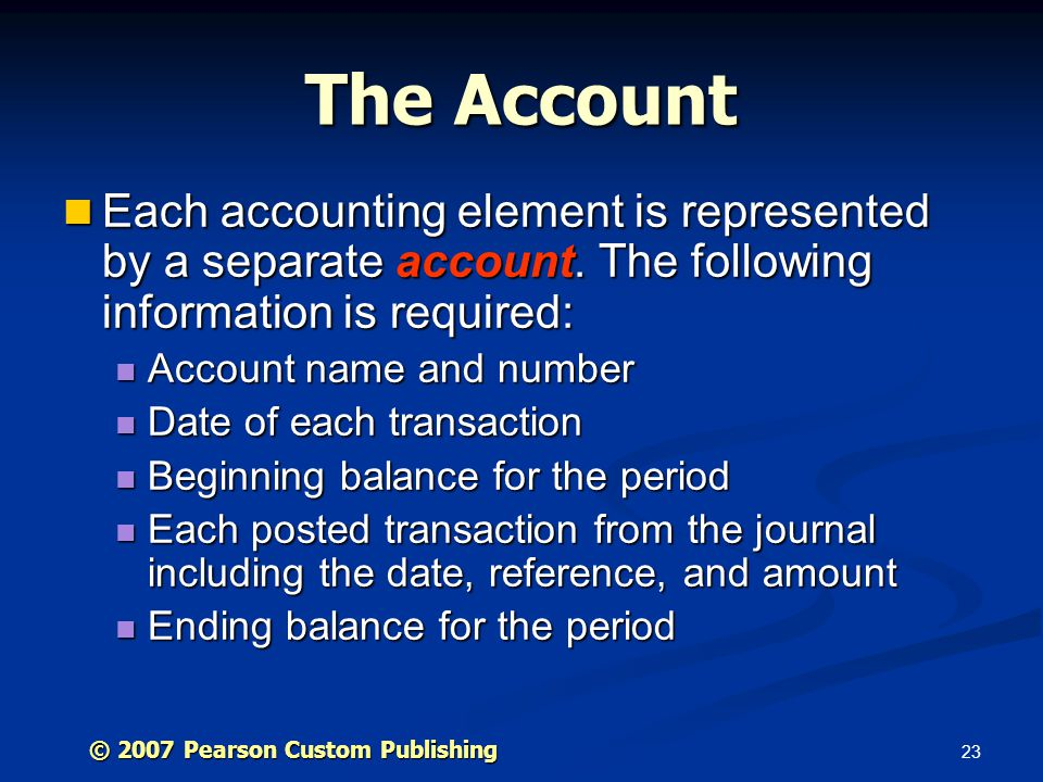 The Account Each accounting element is represented by a separate account. The following information is required:
