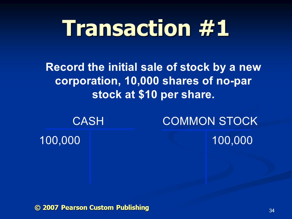 Transaction #1 Record the initial sale of stock by a new corporation, 10,000 shares of no-par stock at $10 per share.