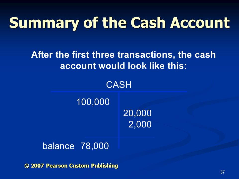 Summary of the Cash Account
