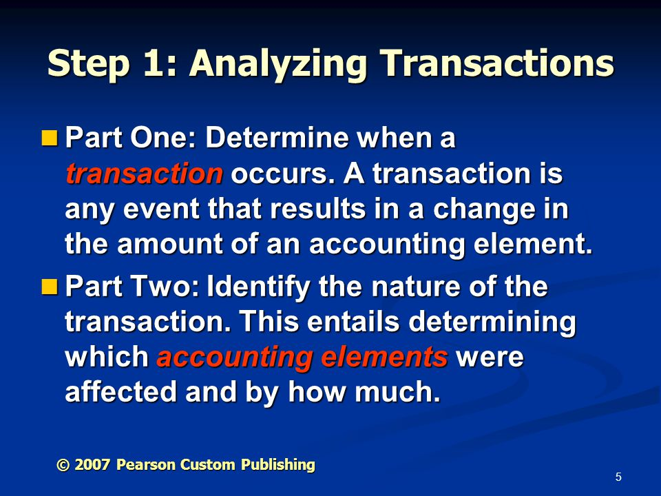 Step 1: Analyzing Transactions