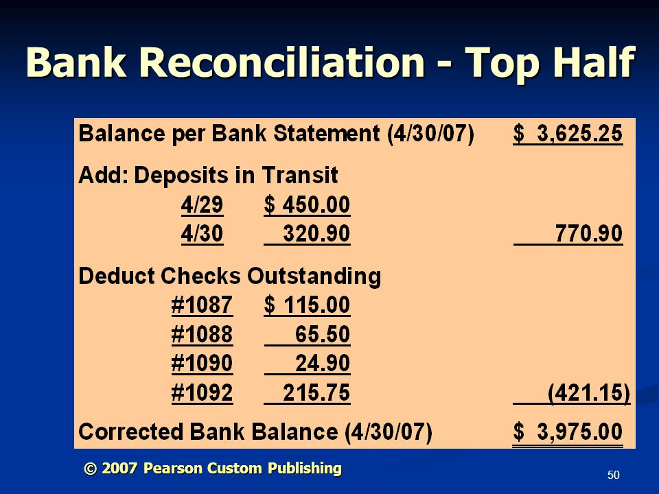 Bank Reconciliation - Top Half