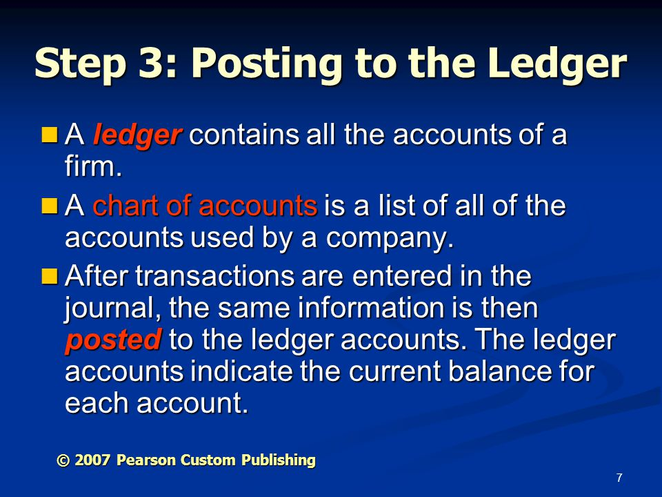 Step 3: Posting to the Ledger