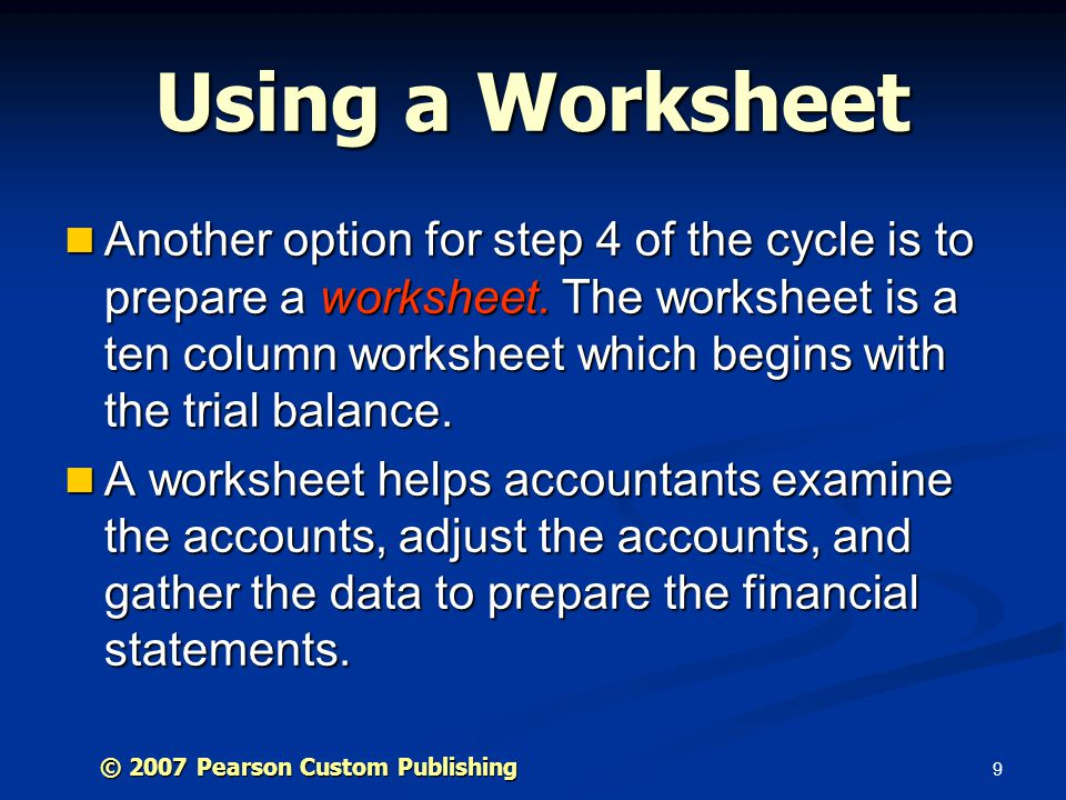 Using a Worksheet