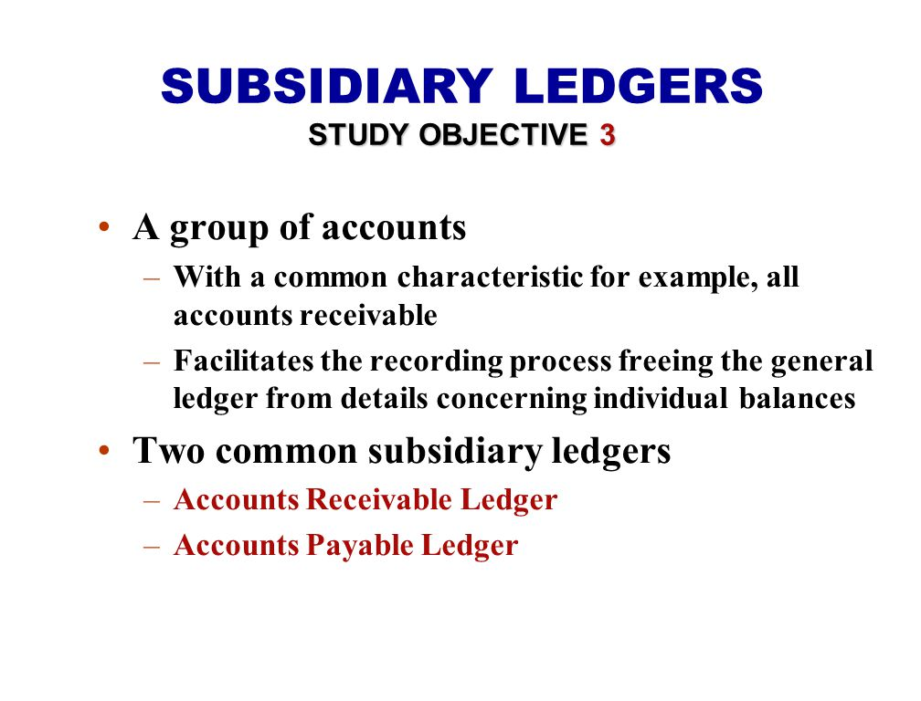 SUBSIDIARY LEDGERS A group of accounts Two common subsidiary ledgers