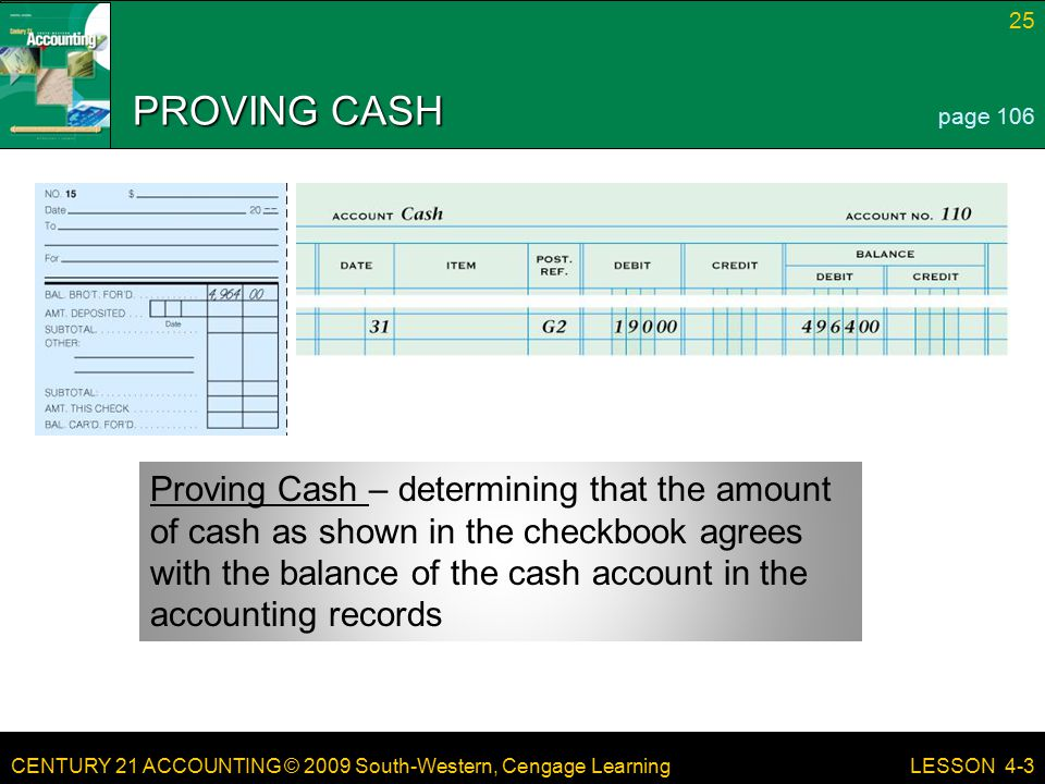 PROVING CASH page 106.