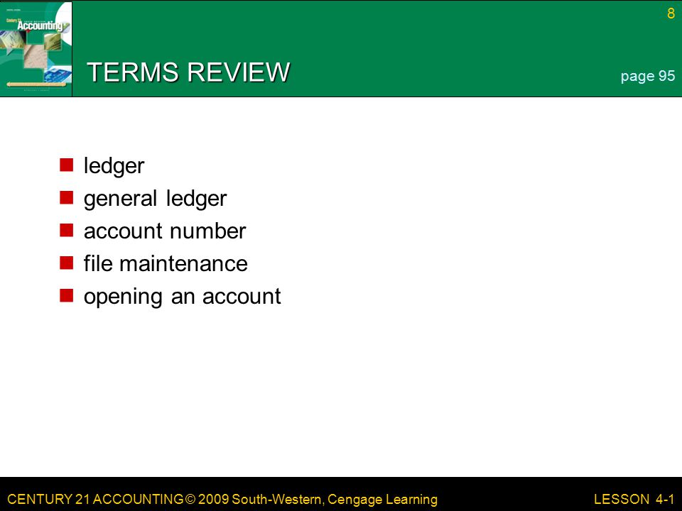 TERMS REVIEW ledger general ledger account number file maintenance