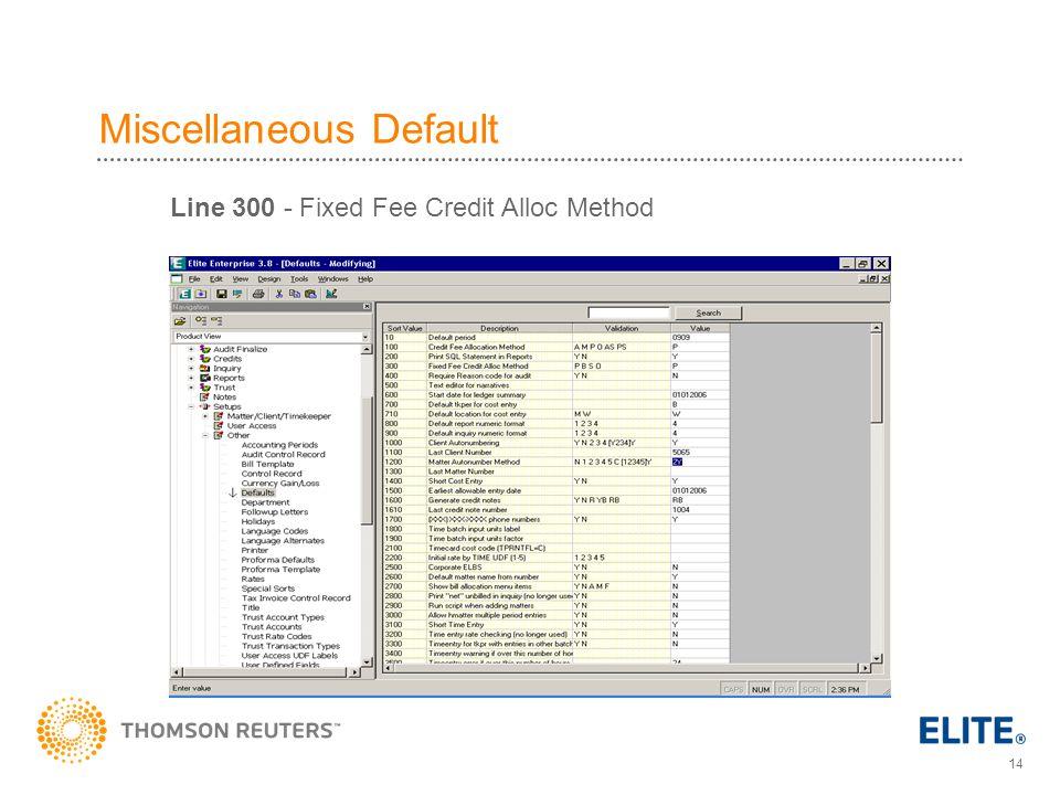 Miscellaneous Default