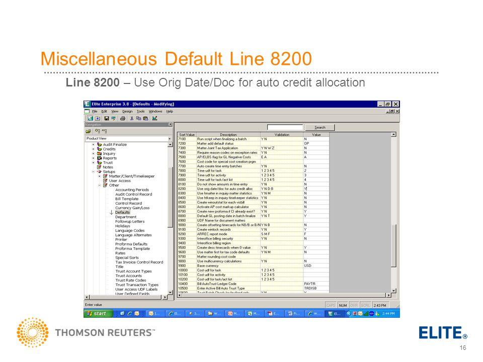 Miscellaneous Default Line 8200