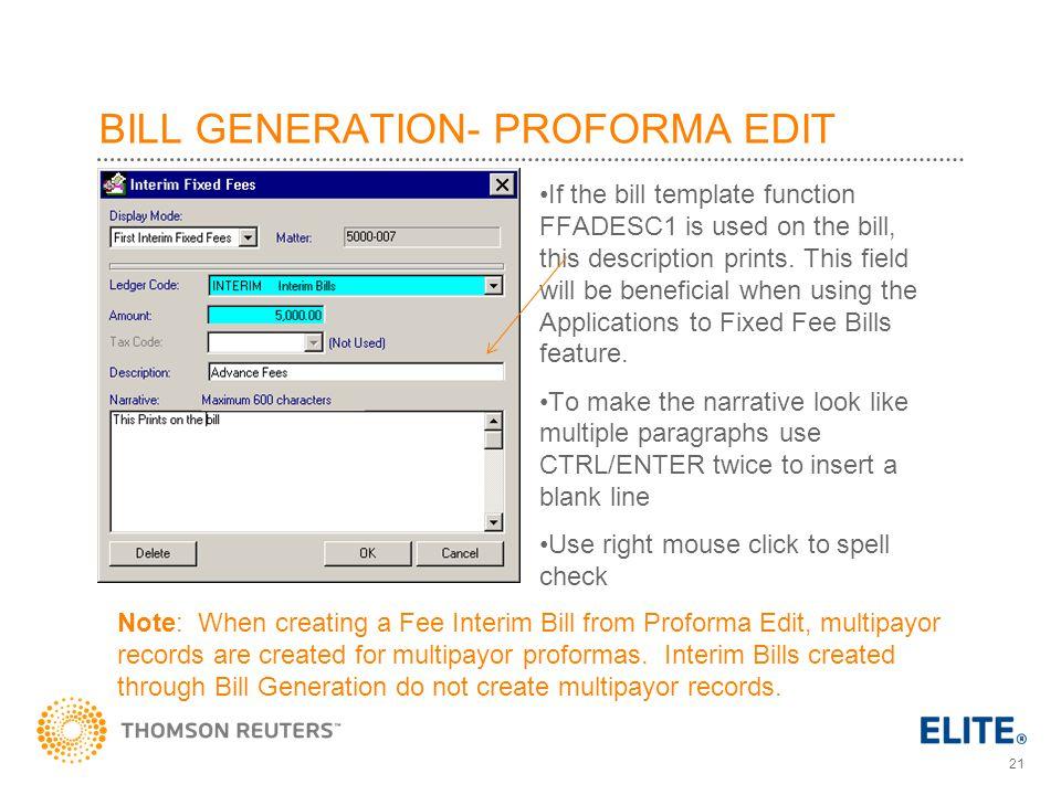 BILL GENERATION- PROFORMA EDIT