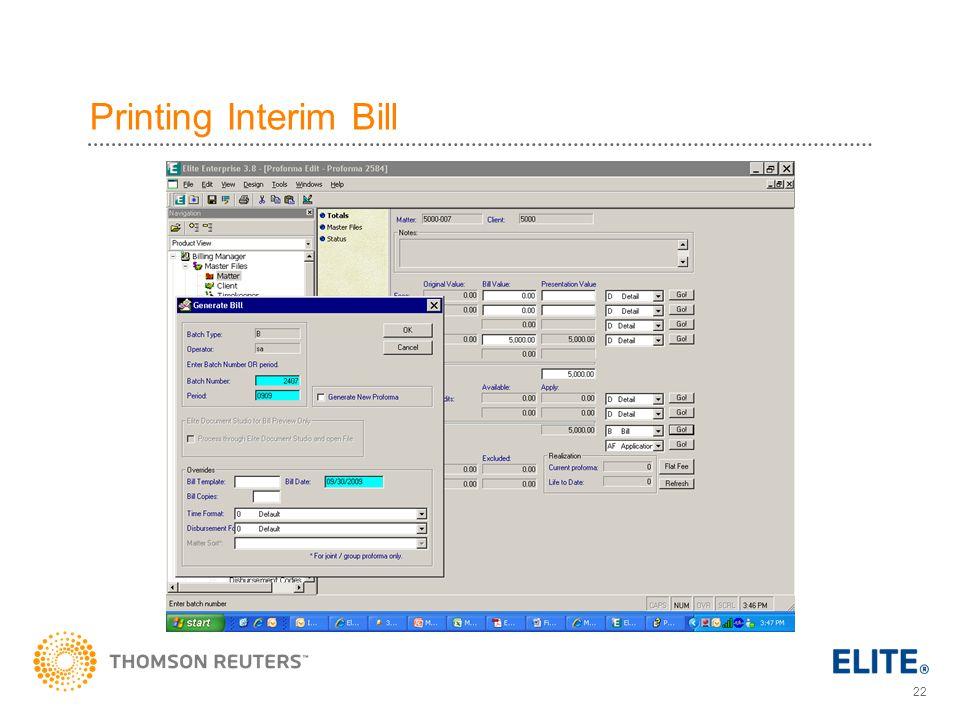 Printing Interim Bill