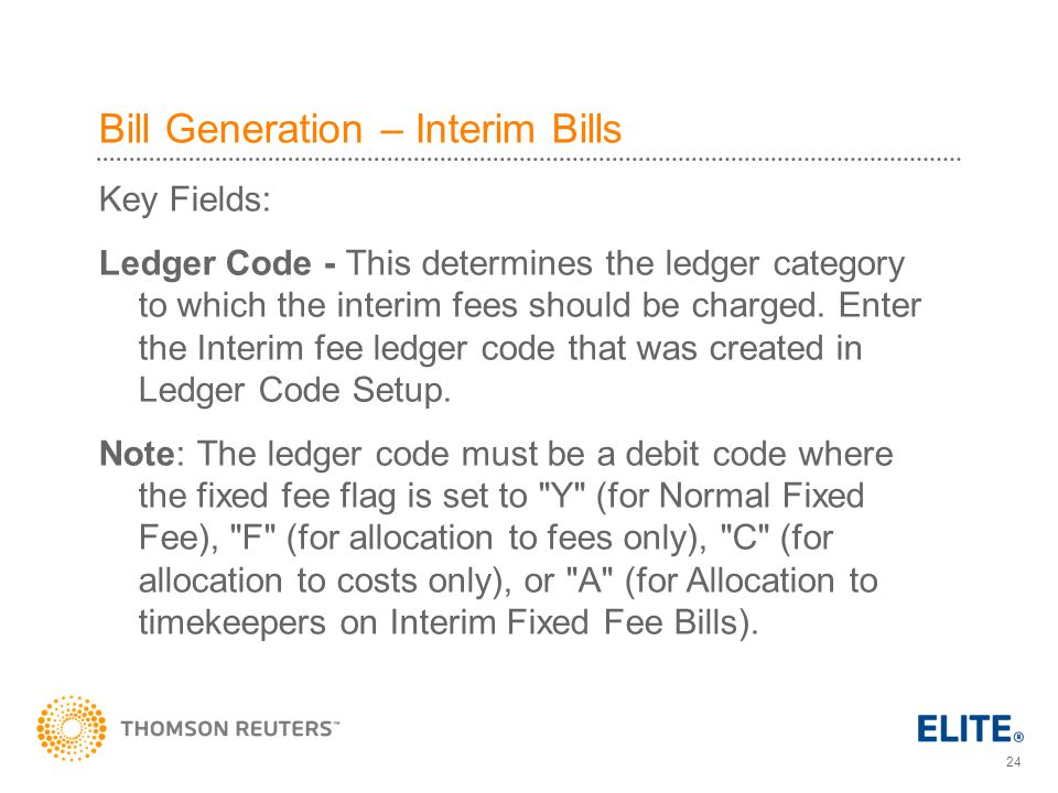 Bill Generation – Interim Bills