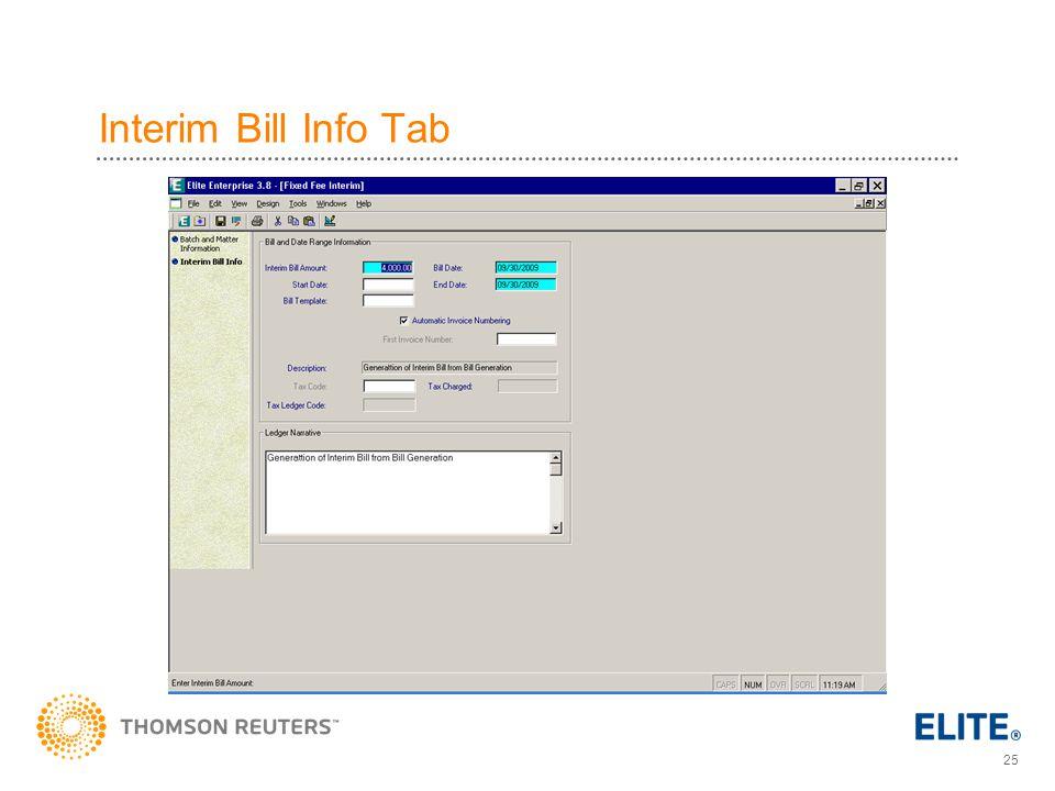 Interim Bill Info Tab