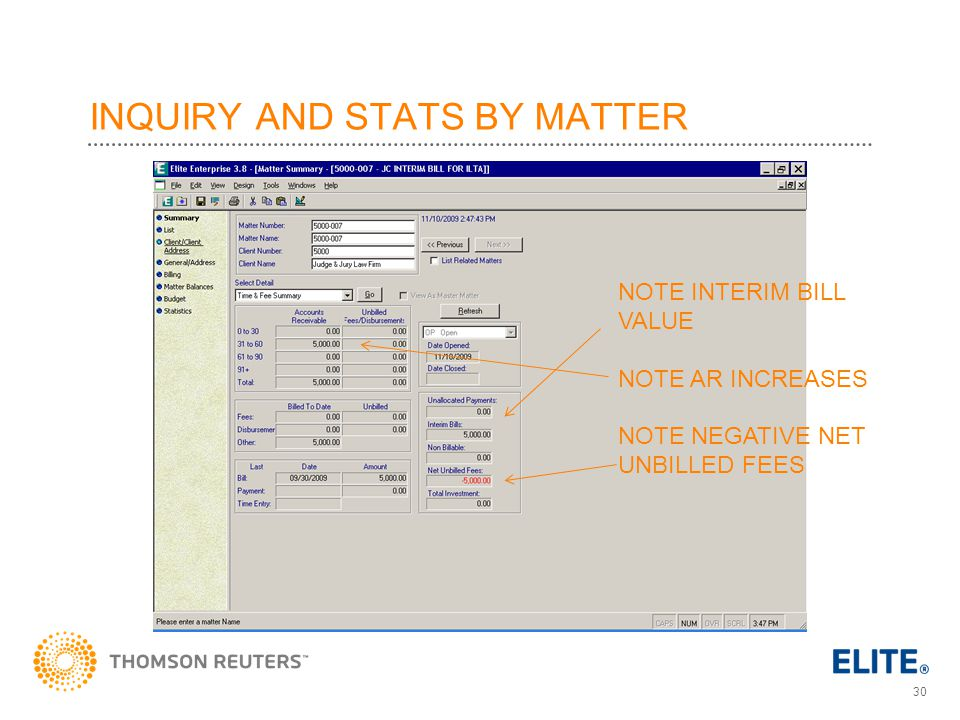 INQUIRY AND STATS BY MATTER