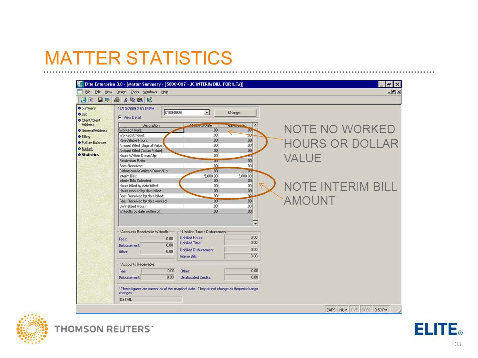 MATTER STATISTICS NOTE NO WORKED HOURS OR DOLLAR VALUE