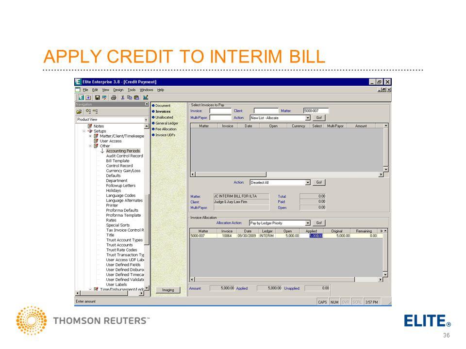 APPLY CREDIT TO INTERIM BILL