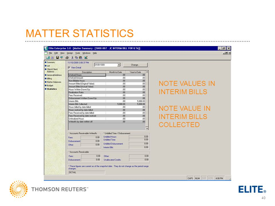 MATTER STATISTICS NOTE VALUES IN INTERIM BILLS