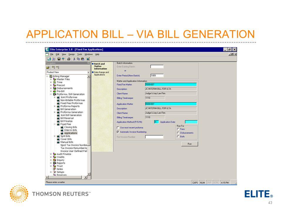 APPLICATION BILL – VIA BILL GENERATION