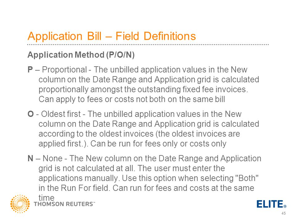 Application Bill – Field Definitions
