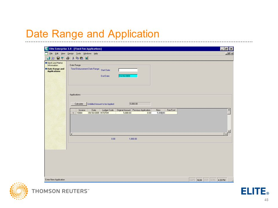Date Range and Application