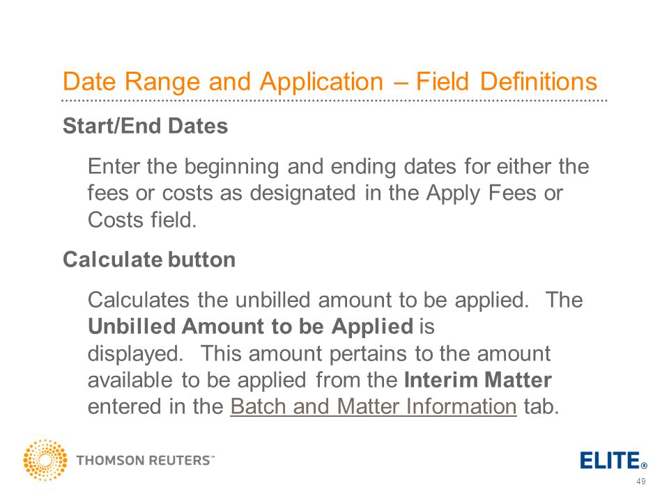 Date Range and Application – Field Definitions