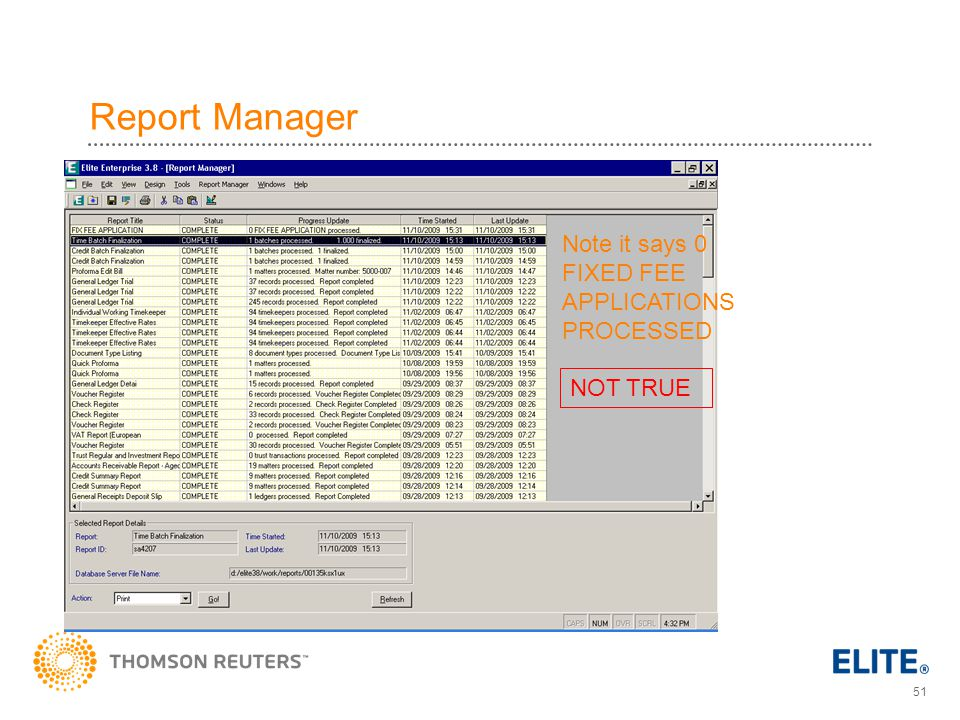 Report Manager Note it says 0 FIXED FEE APPLICATIONS PROCESSED