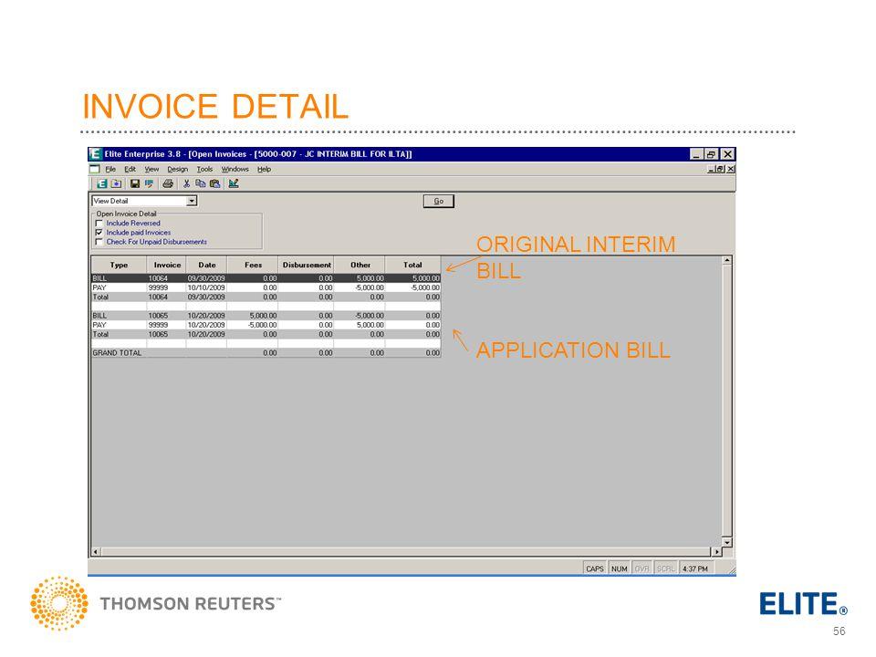 INVOICE DETAIL ORIGINAL INTERIM BILL APPLICATION BILL
