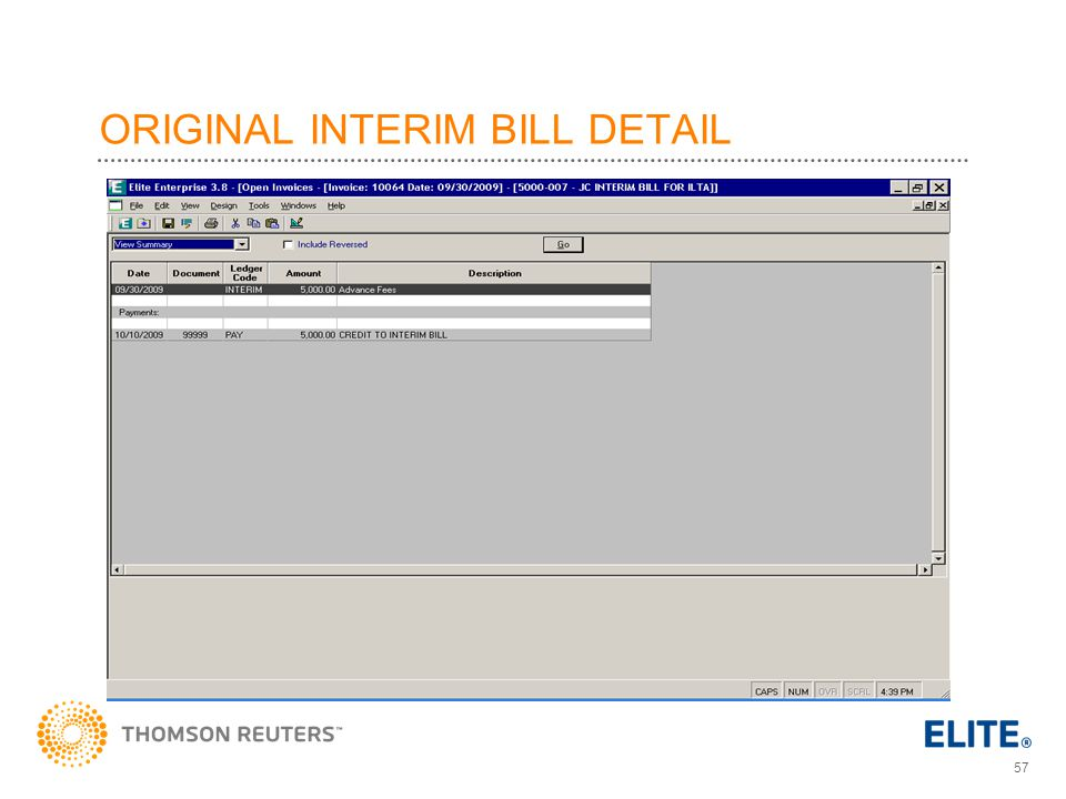 ORIGINAL INTERIM BILL DETAIL