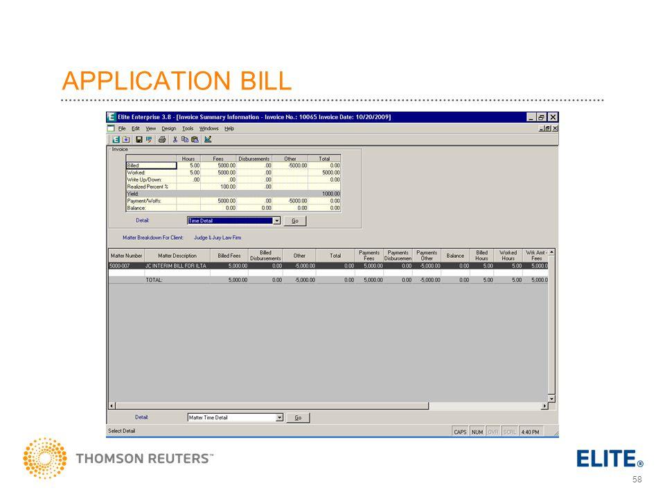 APPLICATION BILL