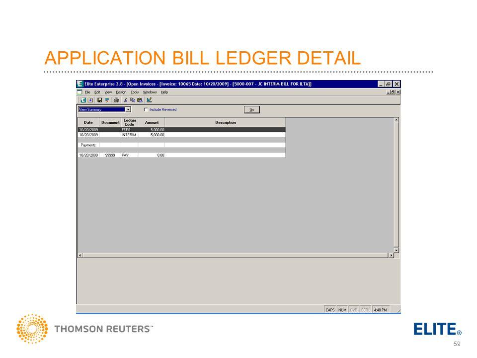 APPLICATION BILL LEDGER DETAIL