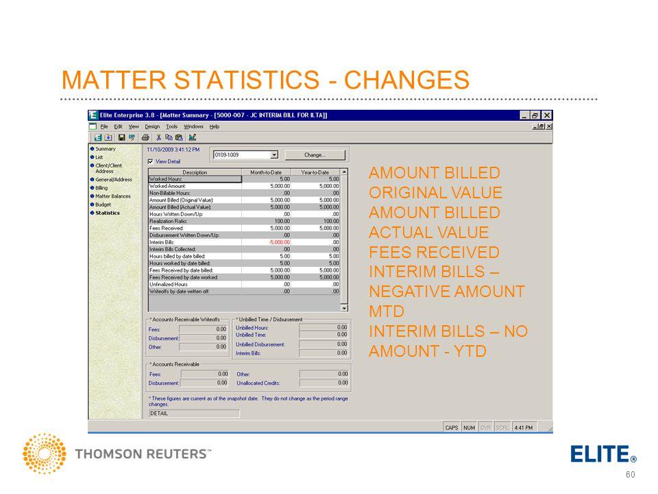 MATTER STATISTICS - CHANGES