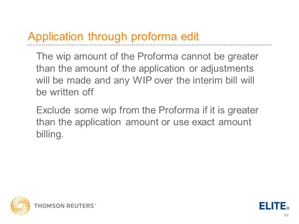 Application through proforma edit
