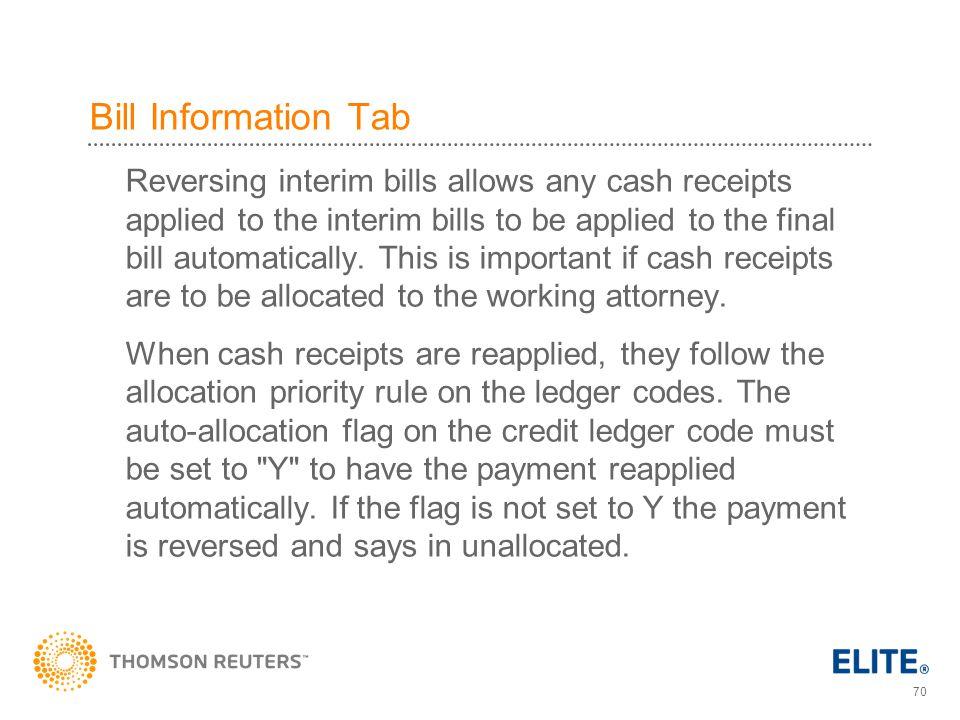 Bill Information Tab
