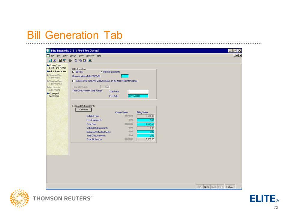 Bill Generation Tab