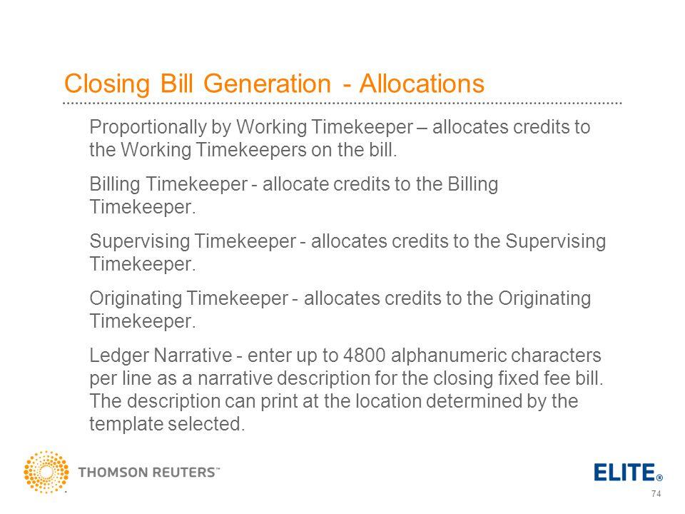 Closing Bill Generation - Allocations