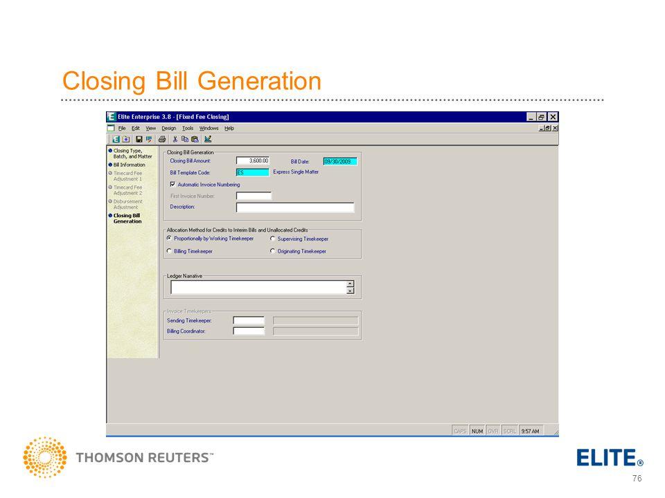Closing Bill Generation