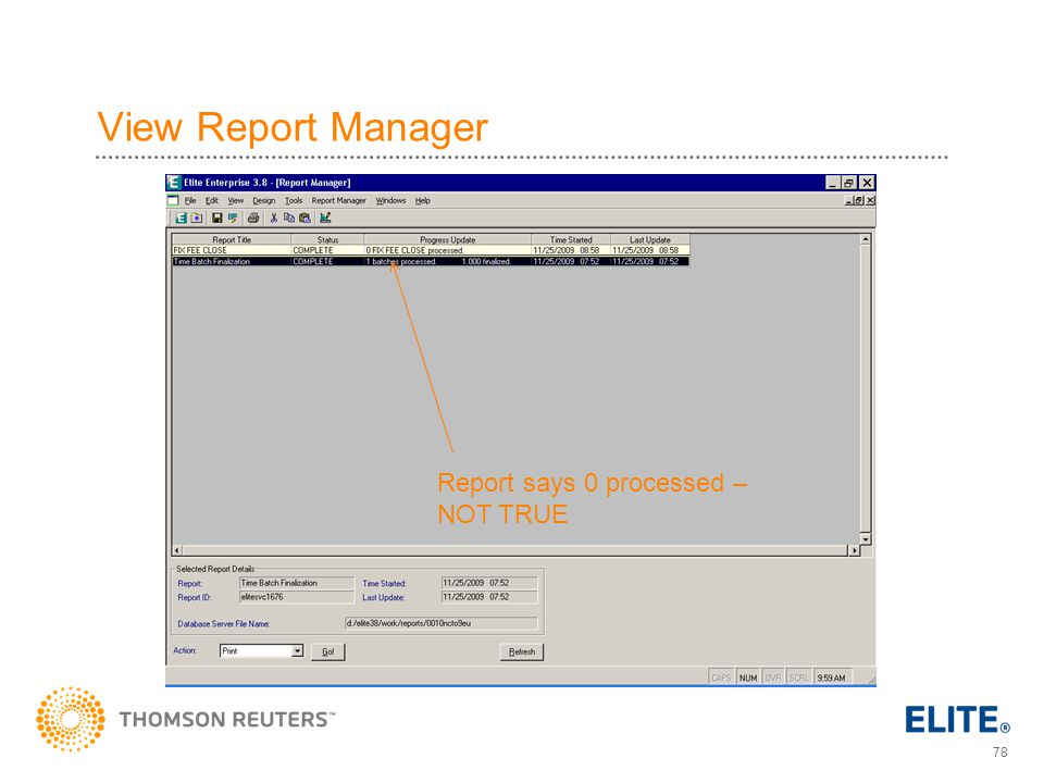 View Report Manager Report says 0 processed – NOT TRUE