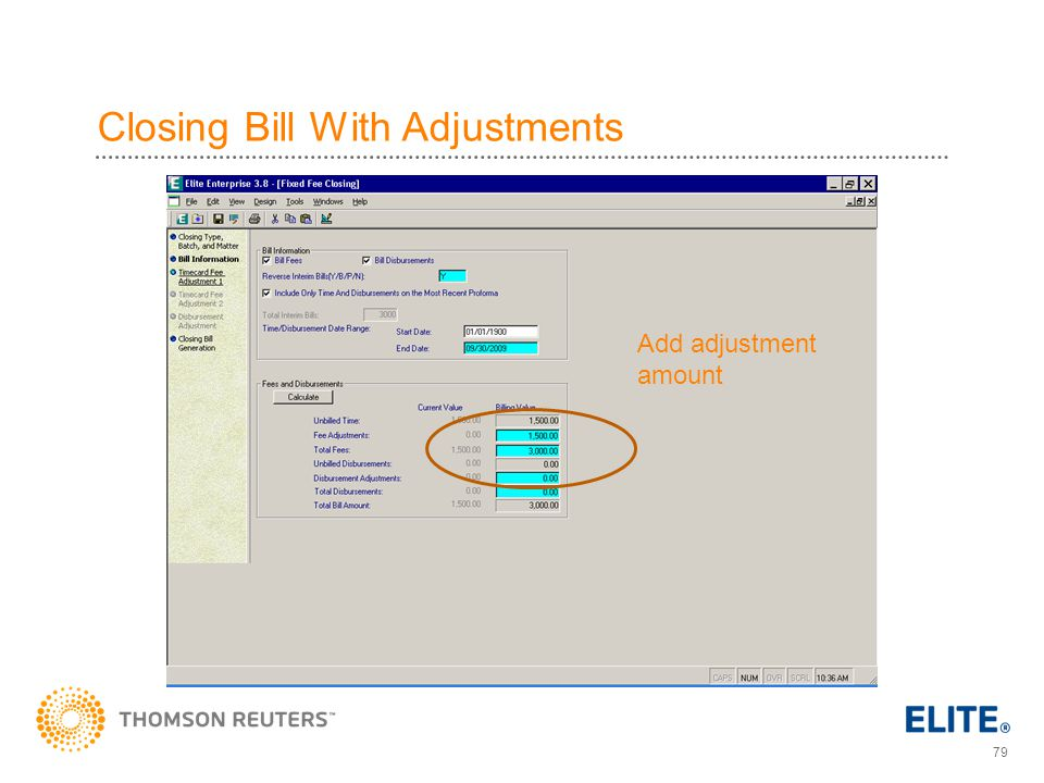 Closing Bill With Adjustments