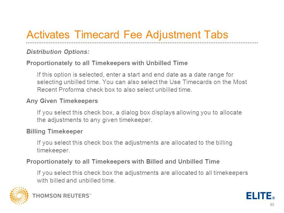 Activates Timecard Fee Adjustment Tabs