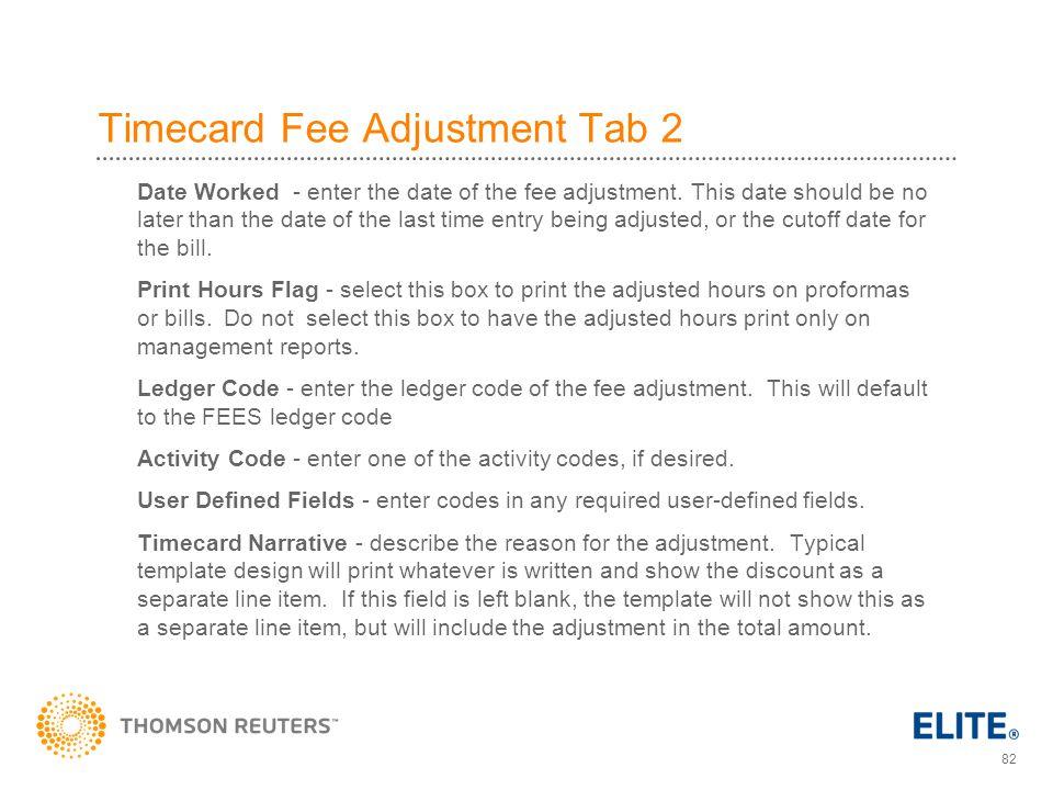 Timecard Fee Adjustment Tab 2