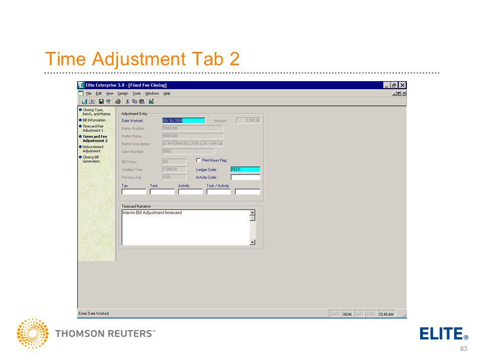 Time Adjustment Tab 2