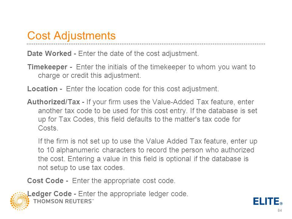 Cost Adjustments