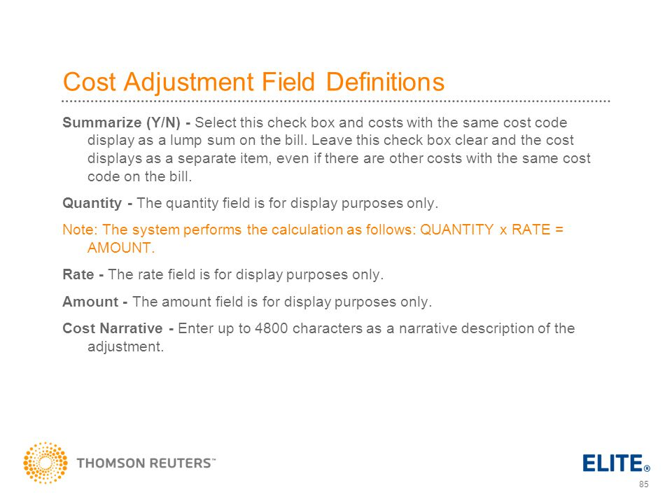 Cost Adjustment Field Definitions