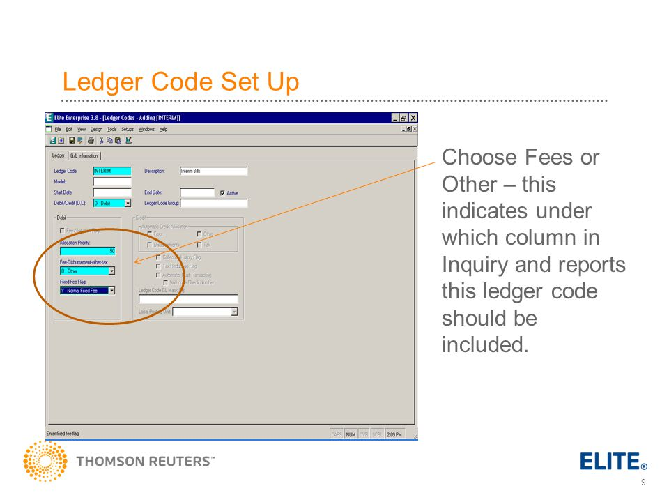 Ledger Code Set Up Choose Fees or Other – this indicates under which column in Inquiry and reports this ledger code should be included.
