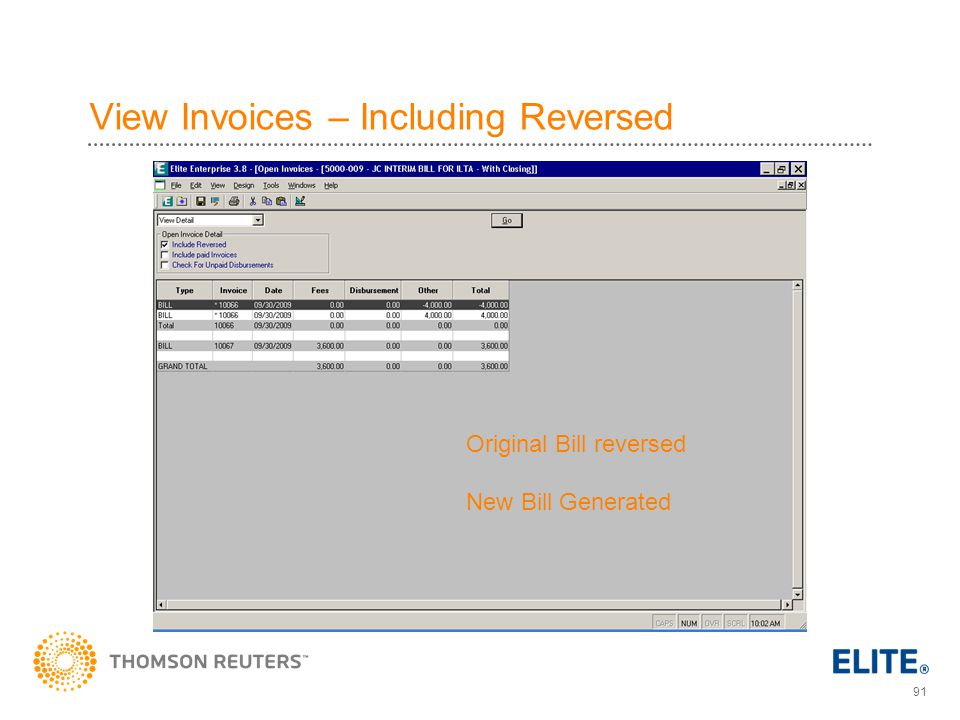 View Invoices – Including Reversed
