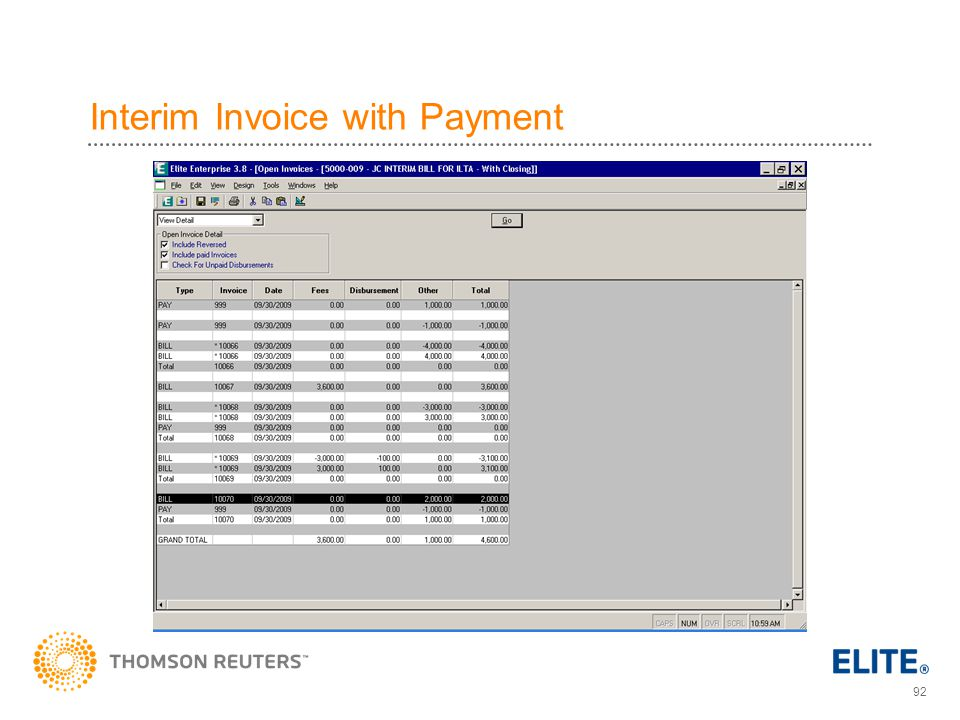 Interim Invoice with Payment