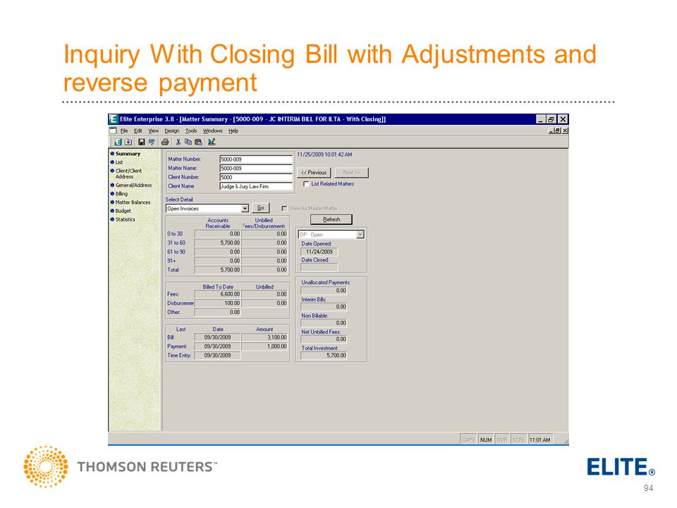 Inquiry With Closing Bill with Adjustments and reverse payment