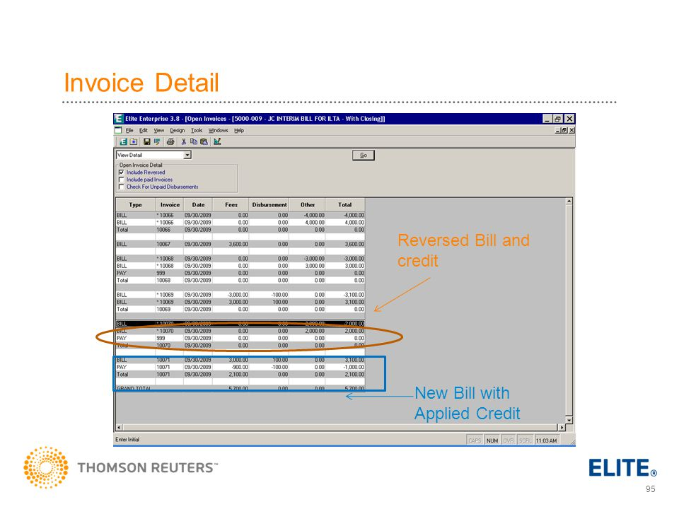 Invoice Detail Reversed Bill and credit New Bill with Applied Credit